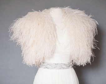 Ostrich Feather Shrug Jacket As Seen in Martha Stewart Weddings