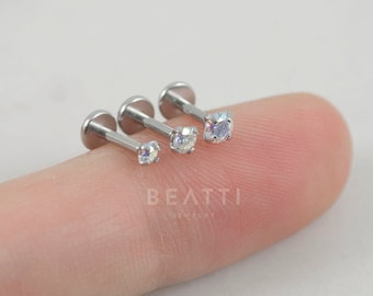 NEW 18G AB Crystal Rainbow Labret Studs, 2,2.5,3mm Forward Helix, Tragus Earring, Cartilage earring,Internal thread, Surgical Steel Labret