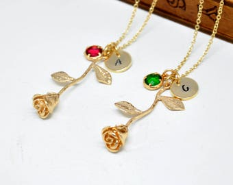 Gold Rose Necklace with Birthstone and Initial, Personalized Bridesmaid Necklace, Beauty and the Beast Rose Necklace, Bridal Jewelry
