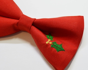 Christmas Red with misletoe embroidery bow tie, Christmas bow tie, red bow tie, boys bow tie, christmas gift, baby bow tie, mens bow tie