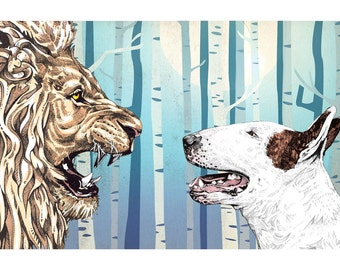 Lulu and The Lion - Bull Terrier Art Print