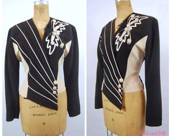 1980s Abstract Jacket // 38 Bust // Black and White 40s style Asymmetrical Striped Geometric // 80s Mon-Liz of Paris France