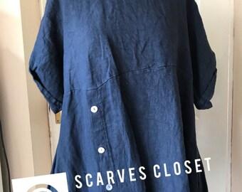 Women Italian Jersey Langelook Quirky Plain Button Detail Medium Linen Tunic Top - Jeans