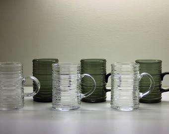 Set of Six Tankard Beer Mug, Drinking Jug Stein, Rustica Pattern, Scandinavian Design Glass,  Kaj Franck, Iittala Nuutajarvi Mid-Century Art