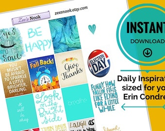 Daily Inspiration Stickers, Turquoise November Themed (printable)