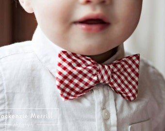 Red and White Plaid Silk Bow Tie for Men or Boys - Clip on, pre-tied with strap or self tying