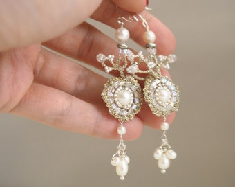 Handcrafted Crochet Lace Bridal Chandelier Earrings // Kirsten