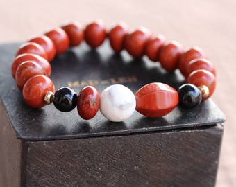 Beaded natural stone, howlite beads, red Jasper, black, gold plated, tourmaline bracelet Crystal healing, Red Jasper 320