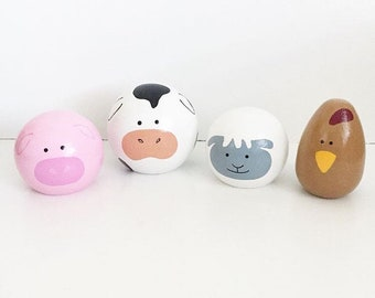 Farm Animal Peg Dolls - Wood Animals, Pig, Cow, Sheep, Chicken