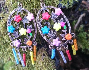 Gift Original pretty Rainbow floral earrings