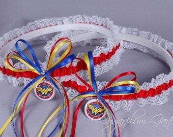 Wonder Woman Lace Wedding Garter Set