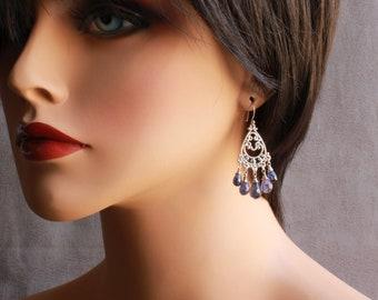 Iolite Chandelier Earrings, Sterling Silver, indigo blue gemstone earrings, boho style statement earrings, holiday gift for her, 4439