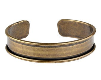 Bracelet holder with Metal - for customization - for leather 10mm - old Bronze - BRAM17ABR0354 lip
