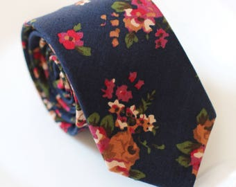 Red Wedding Floral Skinny Tie, Navy Floral Tie, Skinny Men's Ties, Cotton Skinny Tie, Men's Floral  Tie, TIE SALE! Men's Accessory, Long Tie