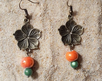 Earrings bronze flower and pearls