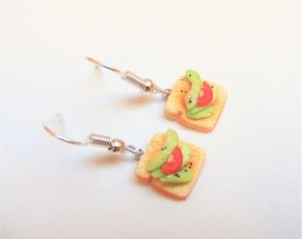 Avocado toast earrings, Avocado earrings, Avocado, Toast earrings, Food Jewelry, Miniature Food Earrings, Miniature Food Jewelry, Mini Food