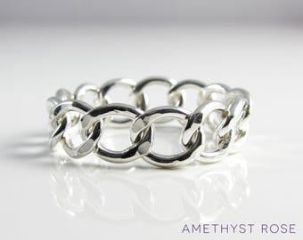 Curb Chain Ring ~ Flexible ring ~ Chain link ring ~ Sterling Silver 925‰ ring ~ Cuban chain ring ~ Jewellery made by hand