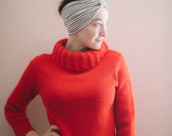 Vintage red fringe turtleneck sweater | ribbed knit turtleneck