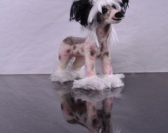 Custom Chinese crested dog- needle felted dog plushie puppy sculpture