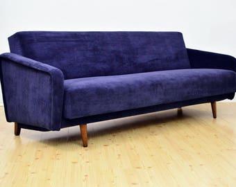 Vintage DANISH 3 Seat Sofa Bed Design Mid Century Reupholtered