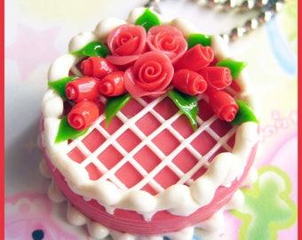 Red rose wedding cake charm