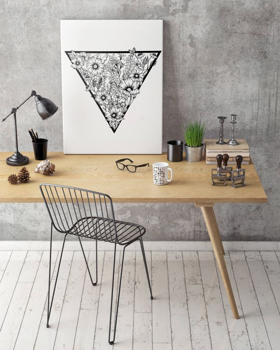 Triangle flowers   Framed Canvas   Wall decor   Ink Illustration   Tattoo art   Black and white   Floral art   Geometric drawing   ZuskaArt