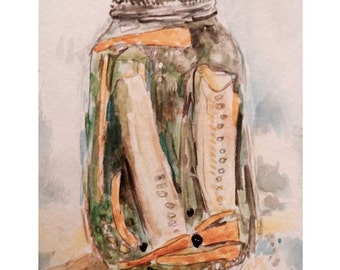 Custom Canning Watercolor: a one of a kind painting of a jar of your family pickle or jam recipe- great gift for home cooks!