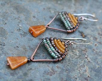 Woven Copper Earrings, Seed Bead Earrings, Oxidized Copper, Small Earrings, Lightweight Earrings, Picasso Earrings, Boho Earrings