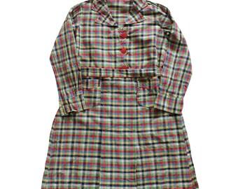 Affordable Vintage S Blouse Robe Tablier Coton Rustique Carreaux  Multicolore Stock Ancien Neuf Taille Ans With Patron Tablier Retro