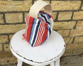 Beautiful handmade Small Door stop in stunning bright and  bold stripes.