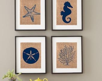 Beach Art / Shabby Chic / Jute / Burlap / Wall Art / Beach Prints / Custom Colors / Beach Art / Starfish / Seahorse / Sand Dollar / Coral