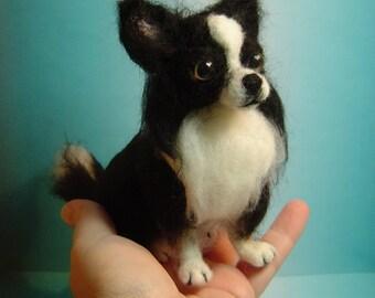 Chihuahua dog Remberance custom needle felted Pet Portrait sculpture