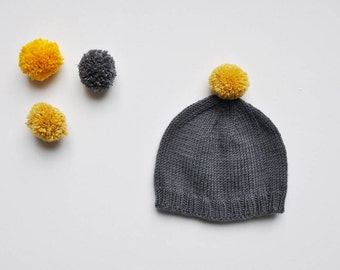 BARNABAS - With contrasting Pompom baby hat, hand knitted in wool/cashmere