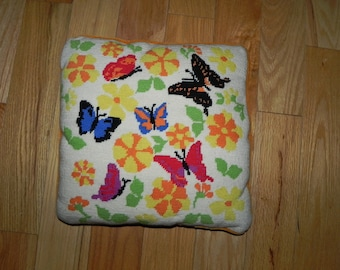 """Needlepoint Butterfly Throw Pillow 14""""x14""""- Retro - Collectible"""