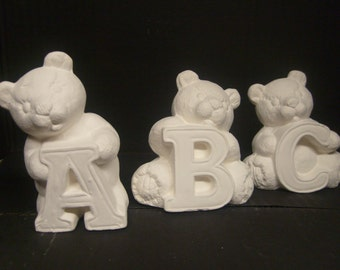 Your Choice of 3 inch Ceramic Alphabet Bear, Ready to Paint