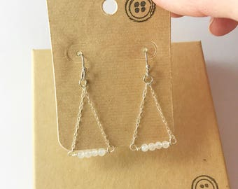 Silver Dangle Chain Earrings with Moonstone