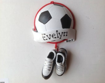 Soccer Ball and Cleats Shoes Personalized Christmas Ornament Soccer Sports, Coach, Team Gift- Free Personalization