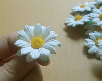 """10 Paper Flowers (Size 1.5"""") Mulberry Paper Craft flower, Wedding, Mulberry paper daisies, Bouquets and Crafts, White Paper Daisy."""