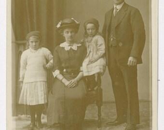RPPC, c 1900s, family portrait, real photograph postcard, children, girls, vintage postcard, old vernacular photo, social history, real life