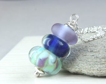 Colorful Lampwork  Necklace Sterling  Silver Glass Jewelry  Handmade Jewellery  Gifts For Women Multi Colored Necklace  Column Pendant