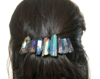 Quartz french hair barrette: rainbow iridescent crystal, hair crystals, bridal, gift for her, bridesmaids gift, updo, hair accessories