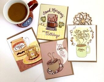 Coffee Cards Gift Set of 8 - coffee lover, coffee greeting cards, coffee stationery, coffee mugs, coffee gift
