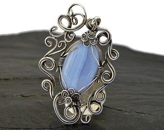Blue Pendant, Blue Agate Pendant, Victorian Pendant, Silver Pendant, Blue Necklace, Gemstone Pendant, Vintage Inspired, Gift for Her
