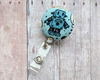 Robot Badge Clip ID Holder, Robot on Blue Cotton Print, Retractable Science Badge Reel, Blue Badge Clip, Robot Clip, Made in USA