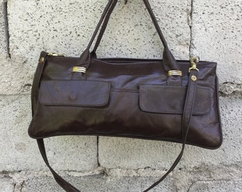 Bag Vintage/ 80s/ brown/ removable shoulder strap/ two pockets/ lined/ two external pockets/ double handles/ Made in Italy