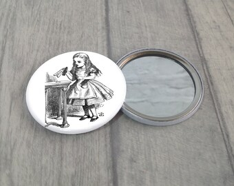 Alice In Wonderland Pocket Mirror / Alice Purse Mirror / Makeup Mirror / Stocking Filler / Party Favour / Handbag Mirror / Wonderland Gift