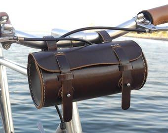 Leather Bicycle Bag - Leather Bag - Bike bag, Espresso