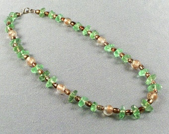Pretty Honey Colored and Green Bead Necklace // All Glass Beads and Chips // 20 Inches Long