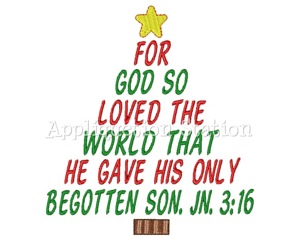 Christmas Tree John 3:16 Machine Embroidery Design Holiday
