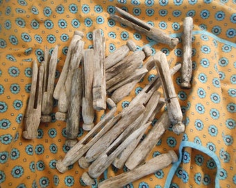 Weathered Wood Peg Clothespins, 21